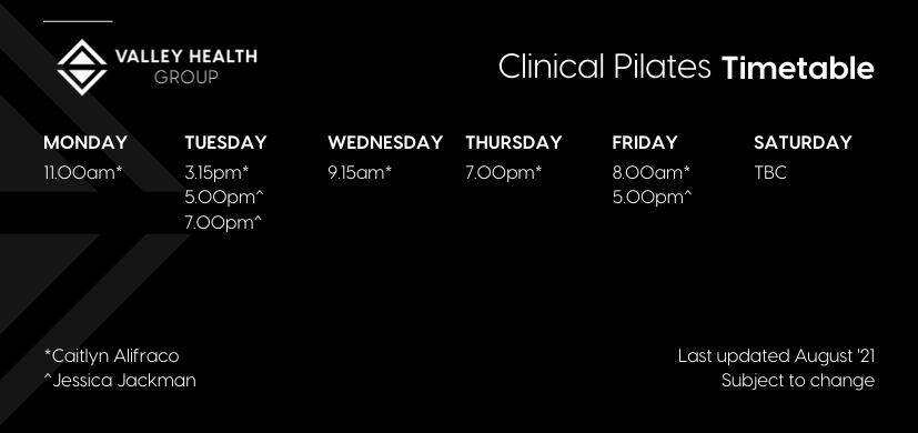 Clinical Pilates Timetable AUG 21